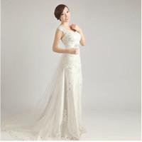 Wholesale Wedding Dresses Spaghetti strap sash beading court Applique crystal sexy charming wedding dresses