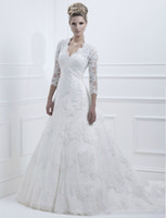 Wholesale 2013 New Exquisite Embroidery White Lace With Beads Pearl Sequin Satin Ball Gown Wedding Dresses