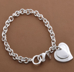 Fashion jewelry 20pcs 925 Silver Overlap Hearts Charms Links Bracelet 8.0inch Good Selling Bracelet