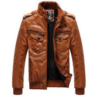 Jackets Men Leather_Like Men's Locomotive Leather PU Jacket Coat Thickening Fur Outerwear Slim Winter Jacket Brown , M-XXXL