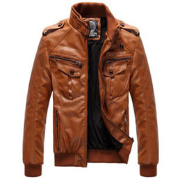 Wholesale Men s Locomotive Leather PU Jacket Coat Thickening Fur Outerwear Slim Winter Jacket Brown M XXXL