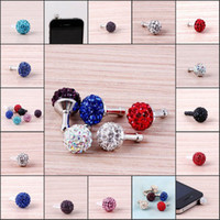 Wholesale 50PCS Cell Phone Dustproof Plug Colorful Crystal Disco Ball iphone4S ipad Ear Phone Cap Accessories