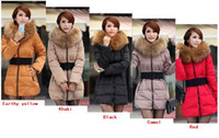 Wholesale Women s Winter Warm Slim Long Fur Collar belted Coat Down Jacket Parka S M L XL XXL XXXL Colors Size