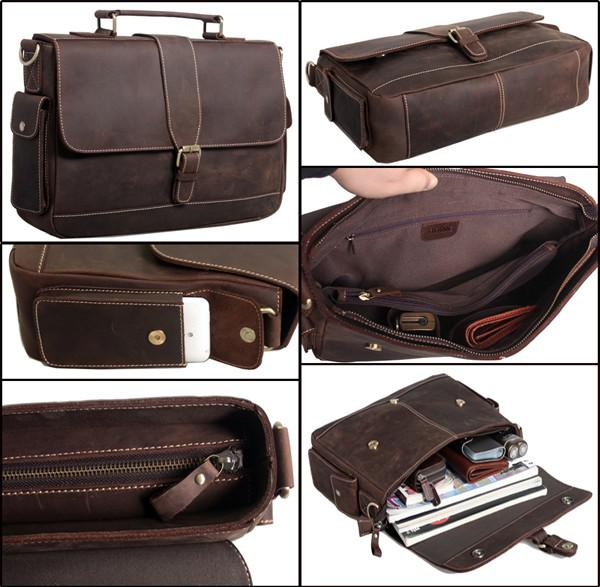 Computer Bag Mens Vintage Bull Real Leather Briefcase Messenger ...