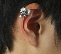 Wholesale pc not pair antique silver Punk Skull vertebral bone clamp clip earrings N