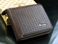 Wholesale Men s Genuine Soft Leather Zipper Wallet Pockets Card Clutch Cente Bifold Purse Coffe Color QB11