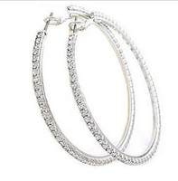 Wholesale Big Circle Silver Plated Earrings With Bling Rhinestone Basketball Wives Hoop Earrings MM MG E6