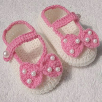 Crochet baby girl shoes bow & pearl Mary Jane 0- 12M 15pairs ...