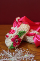 Crochet baby girl ballet shoes flower leaves rshinestone rib...