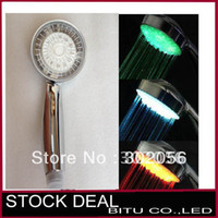 Wholesale 10pcs Temperature controlled color changing LED Shower Head Sprinkler H025