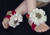 Crochet baby shoes girl thongs boy sandals flower button sli...