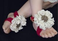 Crochet baby shoes girl thongs boy sandals flower button sli...