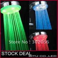 Wholesale 50pcs Temperature controlled color changing LED light shower head H025