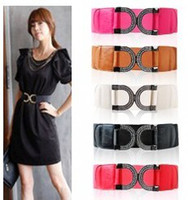 Wholesale Korean Fashion belt quot D quot buckle inlaid elastic girdle elastic waistband Strap colors
