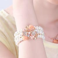 Wholesale Hot Sale Pearl Bracelet Fashion Flash Diamond Four Leaf Flowers Multilayer Beaded Bracelet