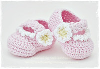 Crochet baby shoes Mary jane shoes bud flower cotton yarn 0-...