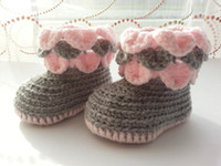 Baby crochet shoes flower petal ruffles snow booties cotton ...