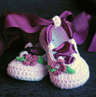 Crochet baby girl ballet shoes flower leaves diamod ribbon b...