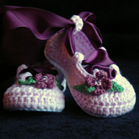 Girl baby jane booties - Crochet baby girl ballet shoes infant dancing booties Mary jane flower leaves rhinestone ribbon bow M pairs cotton yarn