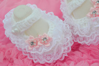 1Pair crochet baby first walker flower girl flower white dre...
