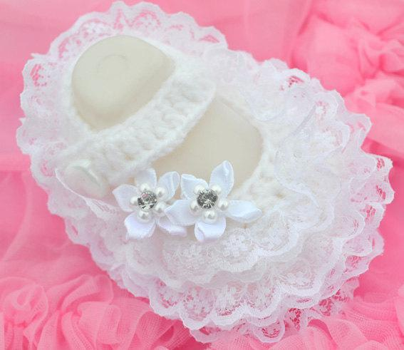 Crochet Baby Girl Dress Shoes Costly Lace Pearl Rhinestone 0-12M ...
