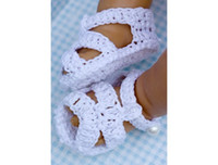 Crochet baby shoes infant sandals button pearl 0- 12M baby co...
