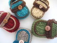 Crochet baby shoes boy loafers infant wooden button booties ...