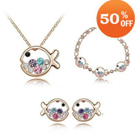 Wholesale Christmas holiday sale Chirstmas Sale18K White Gold Plated fish rhinestone crystal Jewelry Sets whol