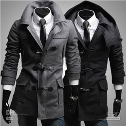 Wholesale 2013 Men s coat Removable hood Men s worsted Loose coat Slim Horn button Overcoat