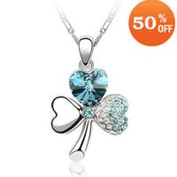 Fashion pendant flower rhinestone - 18K white gold plated austrian crystal rhinestone clover flower heart necklace pendant fashion jewel