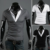Wholesale New mens slim fit Short Sleeves Shirts Casual Stylish T Shirt Colours Size