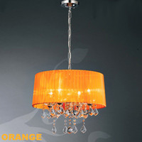 Wholesale New Crystal w Lamps Chandelier Fabric Shade Black White Orange Wine