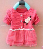 Wholesale Autumn Children Clothing girls baby coat cardigan Kids short shirt years red