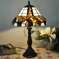 E27 No AC Dia.12 inch Tiffany Style Stained Glass Desk Light with Fruits Pattern,YSL-TD0139