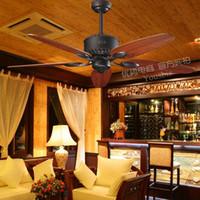 Leyte aoi decoración de hoja ventilador de techo de madera roja ventilador de techo grano luces de la sala dormitorio