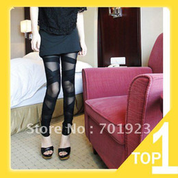 Wholesale Holiday Sale Ripped Cut out Bandage Black Tight Woman Lady Leggings trousers Sexy Pants Free Shipp
