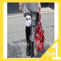 Foot Cover Women Cotton Holiday Sale FREE SHIPPING Lady's Punk Gothic Pirate Skull Striped Skinny Leggings Y3225