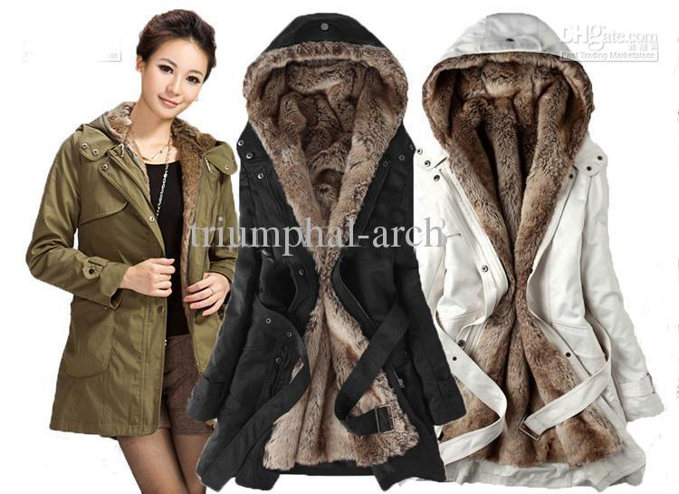 Upgrades Fur Winter With Faux Fur Lining Women's Coat Outerwear De ...