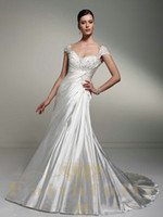Wholesale Elegant Wedding Dress Bodice Cap Shoulder Neckline Corset Back Embroidered Beaded Sequins Lace Ruth