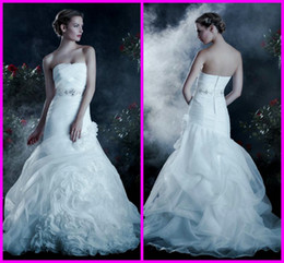 Wholesale 2013 Custom Made Strapless Organza A Line Flange Skirt Beads Fall Chic Wedding Dresses