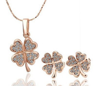 Wholesale Fashion K Rose Gold Plated Lucky Four Leaf Clover Necklace Earring Jewelry Sets s039