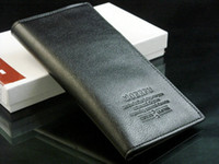 Wholesale Mens Leather Long Wallet Pockets Card Clutch Cente Bifold Purse Black Color WT003