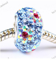 Oval Circle MIX COLORS 26 Colors flowers Crystal 925 Silver European Loose Bead for pandora charm bead 500pcs lot WX096
