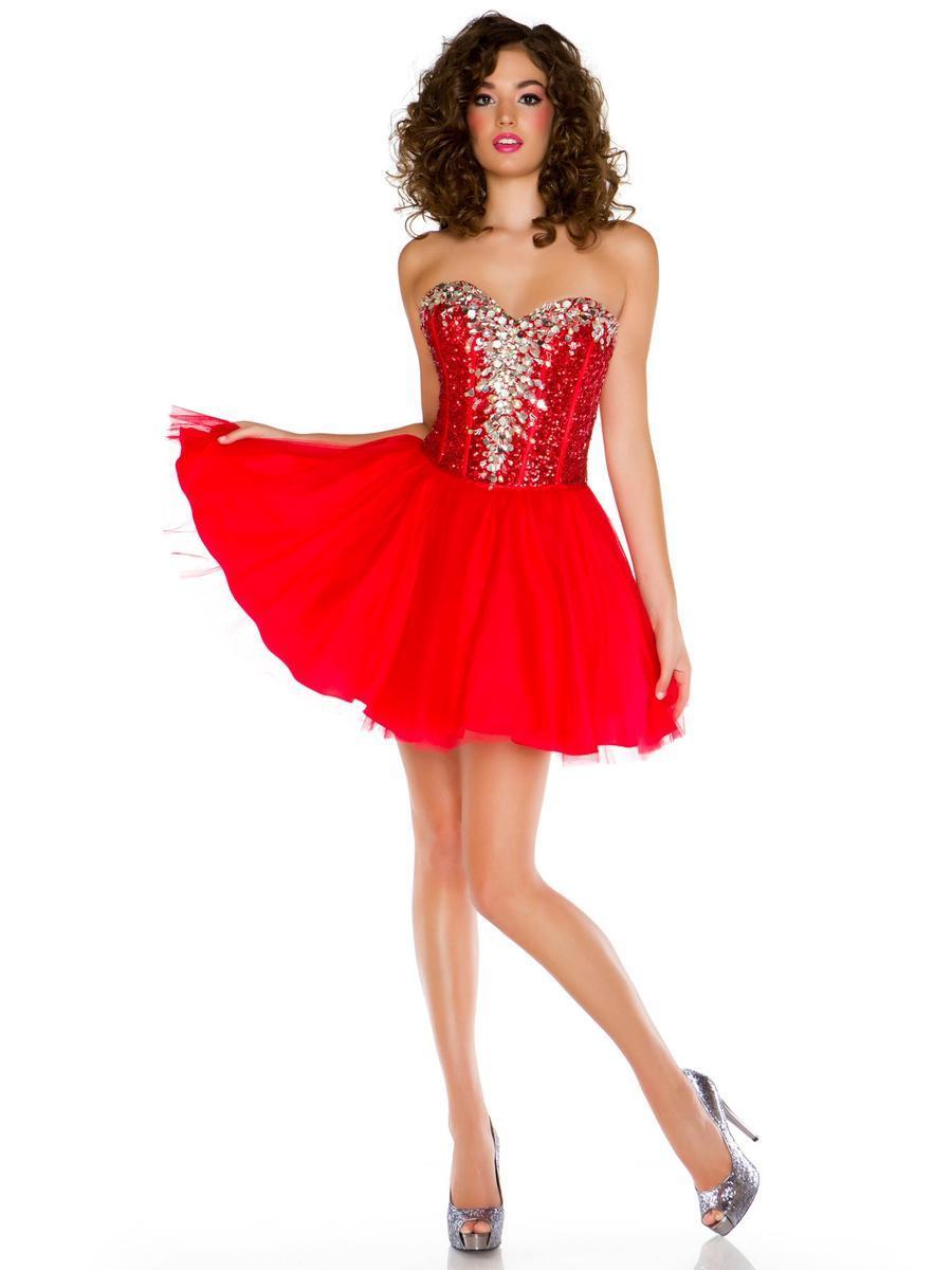 Fashion Red Mini Homecoming Dress A Line Sweetheart Rhinestone ...