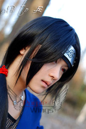 Wholesale Fashion naruto uchiha itachi long black cosplay wig cm wig cap