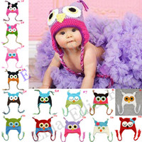 Wholesale 1pc Baby crochet owl hat caps children animal handmade hat Toddler Beanie with earlap H021F