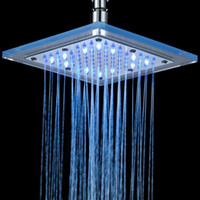 Wholesale FEDEX Freeshipping Square LED Shower Head Copper Brass Glass Temperature Sensor Color Sprinkle