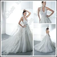 Wholesale New Sexy Luxury Halter V Neck Applique Beaded Wedding Dresses Bride Dress