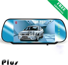 GPS Free shipping 7 inch MP5 rear view mirror car kit with Touch Screen , Long Night Vision Camera Rever