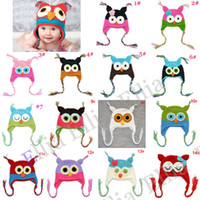 Wholesale Handmade Owl hat Crochet hat Baby Girls boys Kids cap Owl Beanie Infant toddler earflap H021F